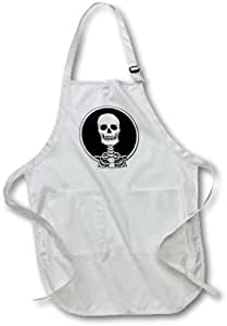 3dRose apr_25040_4 Skeletons Skull 1 on White-Full Length Apron with Pockets, 22 by 30-Inch, Black