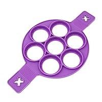 奇妙的 Flippin 煎饼模具环 �C 使用不粘硅胶制作工具制作完美的煎饼、蛋、黑褐色和棕色。 用高级硅胶制成的厨房烘焙用具 - 紫色