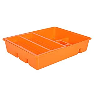 OLizee 创意餐具抽屉收纳盒,带滑动托盘,双层塑料厨房餐具托盘 橙色 CJSNH1-4