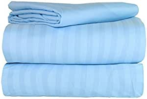 AM Home Fashion Polyester/Microfiber Super Soft Striped Luxury 4-Piece Bed Sheet Set, Full, Sky Blue