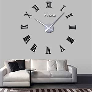 LightInTheBox 挂钟 3D 超大金属电镀家居装饰 DIY 圆形挂钟,罗马 棕色/银色 S420839400007#EUB#wh24