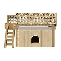 Doghouse Plans 带屋顶甲板 DIY 中号户外木制宠物家用狗舍收容所