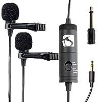 工业标准Sound ISSLM200 薰衣草麦克风,适用于 Iphone 和 Android,智能手机ISSLM200 Dual Lapel 3.55mm clip on microphone