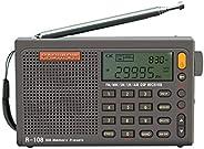 RADIWOW R-108 FM立体声/LW/MW/SW/AIR 频段/DSP 全频便携式收音机,带耳机插孔和天线插孔,*定时器和闹钟,500 个*预设电台(每频段 100 个预设)。