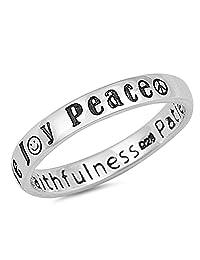 Joy Peace Love 耐心戒指 925 标准纯银戒指尺寸 4-10