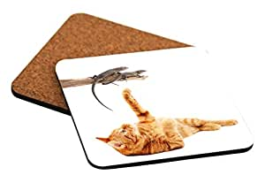 Rikki Knight Cat Playing with Lizards on White Background Design Cork Backed Hard Square Beer Coasters, 4-Inch, Brown, 2-Pack