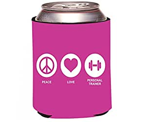 "Rikki Knight RKws-KOOZIE-42687 ""Peace Love Personal Trainer Rose Pink Color Design"" Beer Can/Soda Drink Cooler Koozie"