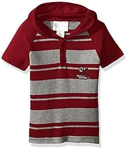 Two Feet Ahead NCAA 波士顿大学老鹰队幼儿男孩橄榄球短袖连帽衬衫,尺码 3,深红色/石南色