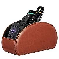 Fintie 遥控支架,Vegan Leather TV 遥控盒桌面收纳盒,5 个隔层,适合电视遥控器、媒体控制器、办公用品、化妆刷 棕色