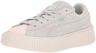 PUMA Kids' 绒面防水台 GLAM 运动鞋 Pearl-glacier Gray 1 M US 儿童