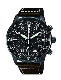 Citizen 西铁城男式生态驱动(太阳能),飞行员设计,不锈钢,日期显示,计时,防水深度(100 米),黑色表盘和棕色表带,CA0695-17E