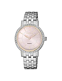 Citizen 西铁城 女士指针式石英手表不锈钢表链 EL3041-87X