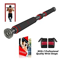 AmazeFan 门口拉杆 | 带延长手柄的引体杆 – 2 条专业品质腕带,家庭健身锻炼训练器,26 至 39 英寸可调节长度