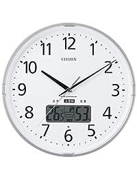 CITIZEN 西铁城【高精度温湿度计】 带【警告音】 电波调节挂钟 Inform Navi 银色 4FY618-019 银色 4FY621-019
