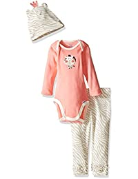 GERBER 宝宝婴儿女童3件套连体衣,棒球帽,和裤子套装