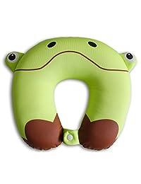 Nido Nest 儿童旅行颈枕 适合儿童 – 飞机、汽车、公路旅行、睡觉、睡觉、礼物 – 幼儿、学龄前儿童、初学期儿童及初学期儿童 青蛙 COMIN18JU087587