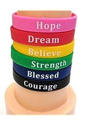 励志硅胶腕带。 (6 件装)带有鼓舞人心的文字设计:勇气、梦想、信仰、希望、祝福、力量。 适合男士、女士和青少年。