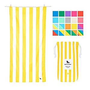 """Microfiber Towel - Beach & Travel (Yellow - Extra Large 78x35"""") - XL, fast drying, mat under your sun shelter"""