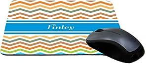 "Rikki Knight""Finley"" Blue Chevron Name Design Lightning Series Gaming Mouse Pad (MPSQ-RK-4523)"