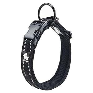 Pettom 可调尼龙宠物项圈加衬垫 2.54 cm 大号 3M 反光狗项圈带环 黑色 XL