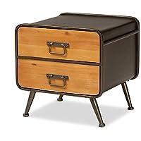 Baxton Studio 173-11040-AMZ 床头柜,橡树棕色/黑色