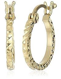 treesse italian 10K 黄金钻石切割管环状耳环