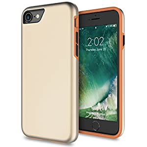 iPhone 8 手机壳,iPhone 7 手机壳,Zeox 超薄硬质超薄抗冲击保护套防震保护套带防滑哑光表面适用于 Apple iPhone 8 / iPhone 7 金色