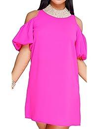 HannahZone 女式露肩七分袖束腰上衣摆动 T 恤连衣裙