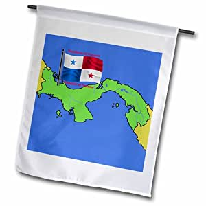 3dRose fl_47677_1 巴拿马国旗和地图,巴拿马共和国英语和西班牙花园旗,30.48 x 45.72 cm