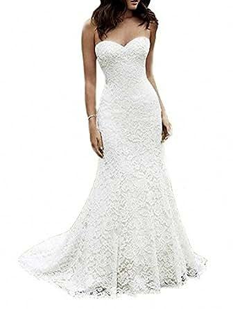 SIQINZHENG 女士甜心全蕾丝沙滩婚纱美人鱼新娘礼服 香槟色 10