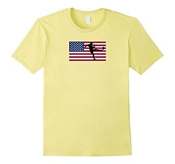 Soccer Kick American Flag Sports T-Shirt - Male 2XL - Lemon