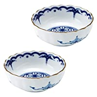 Minoru 陶器 美浓烧 吉祥小纹 麻叶 菊形3.5寸盆 2个套装 φ10.5×4.2cm