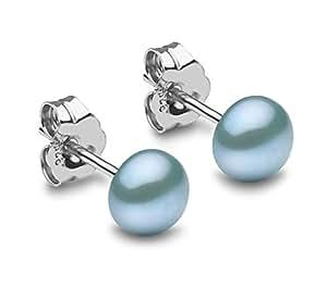 Kimura 5毫米 养殖彩色钮扣形淡水珍珠耳钉 925纯银