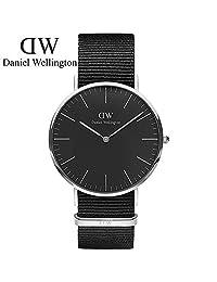 丹尼尔惠灵顿(DanielWellington)手表DW男表40mm黑表盘金色边尼龙带超薄男士石英手表 瑞典品牌 专柜同款
