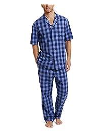 Nautica 男士水牛格子短袖棉质睡衣上衣 蓝色 Small