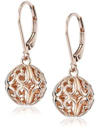 Rose Gold Plated Sterling Silver Filigree Ball Dangle Earrings