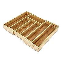 Relaxdays 竹制餐具盒 尺寸约为高 5 × 宽 43 × 深 34 厘米 内嵌餐具盒 可扩展 配有 5 至 7 个隔层 可用作内嵌抽屉配件和厨房收纳配件 易于打理的内嵌餐具盒 适用于所有抽屉 天然