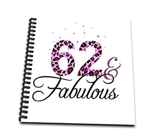 InspirationzStore Occasions - 62 and Fabulous - 趣味少女生日礼物 - 黑色和粉红豹纹印花图案 bday diva 文字 - 绘画书 4x4 notepad db_162625_3