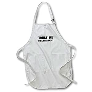 3dRose Trust Me Im a Pharmacist. Pharmacy Work Humor. Funny Job Text Gift - Full Length Apron, 22 by 30-Inch, White, with Pockets (apr_195643_1)