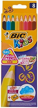 BIC Kids Jumbo 三角形彩色铅笔套装 适合3岁以上儿童,蜡笔一般的绘画效果 8支装彩铅 - 8支防碎笔+Jumbo笔卷笔刀