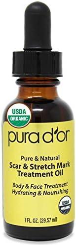 PURA D'OR USDA Organic *痕和*护理油 - 适用于皮肤 - 含玫瑰果、小麦*、酸甘菊、胡萝卜、迷迭香、薰、天竺葵、广藿