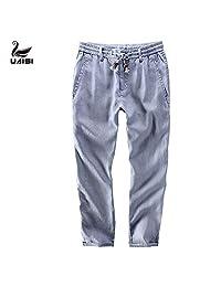 美国UAISI男士亚麻长裤
