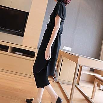 秋装女2018新款冬季针织毛衣宽松阔腿裤套装女神范时尚洋气两件套黑色 均码
