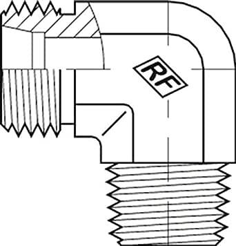 "Adaptall 5063L-08-04C 系列 5063L 碳钢 90 度弯头重型适配器带切割环和螺母,M14X1.5 公头 DIN 管 x 1/4""-19 公头 BSPP 碳钢,M14X1.5 x 1/4""-19"