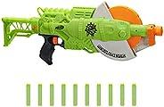 NERF Zombie Strike 食尸鬼研磨器玩具枪 -- 旋转 10 发轮,10 个官方僵尸攻击精英软头弹 -- 适合儿童、青少年、成人