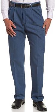 Haggar 男式工作到周末隐藏式可扩展腰牛仔前褶长裤 浅灰色(Light Stonewash) 38W x 30L