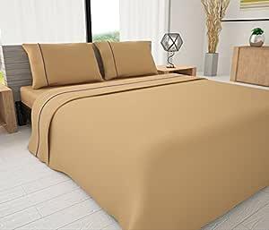Novelty Bedding 144 支埃及棉混纺纯色床单带嵌边,单人床,红色 棕褐色 Queen Livingston Home (LIVPM)