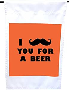 Rikki Knight I Mustache You for a Beer Orange Color House or Garden Flag,30.48 x 45.72 cm 旗帜尺寸带 27.94 x 27.94 cm 图像