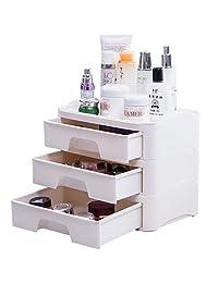 宝优妮化妆品收纳盒桌面抽屉式塑料整理柜办公多功能置物架 DQ1703-5(亚马逊自营商品, 由供应商配送)