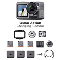 DJI Osmo Action Charging Combo – 带附件套件的数码相机,2个屏幕,防水高达11米,内置稳定功能,照片和视频,4KHDR,100Mbps,黑色
